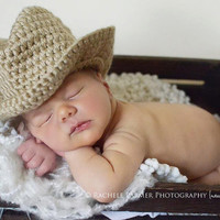Baby boy hat, baby girl hat, crochet cowboy hat, cowboy, photo prop, baby shower gift, coming home outfit, baby cowboy hat, crochet newborn