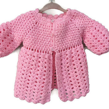 Vintage Baby Sweater, Pink Cardigan Sweater 6m 12m Baby Vintage Sweater Baby Girls Knitted Sweater Pink Knit Cardigan Infant layette Sweater