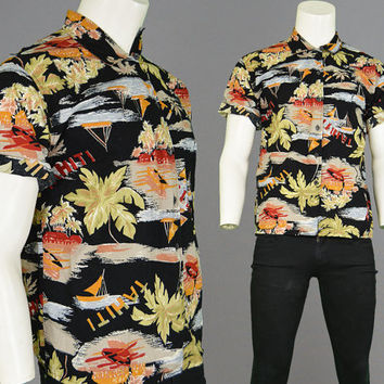 Vintage 80s Black Hawaiian Shirt Tropical Shirt Rockabilly Shirt Mens Large Hipster Shirt Cotton Button Up Shirt Aloha Hawaii 1980s Top