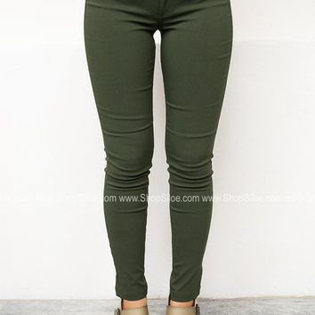 Solid Stretch Jeggings | Olive