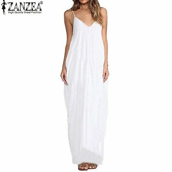 ZANZEA 2017 Summer Vestidos Women Dress Boho Strapless V-neck Sleeveless Baggy Long Maxi Dresses Sexy Sundress Beach Plus Size