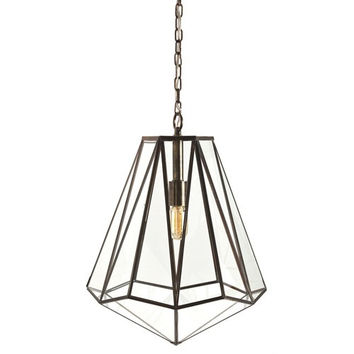 Arteriors Home Edmond Brass/Glass Hexagon Pendant - Arteriors Home 46361