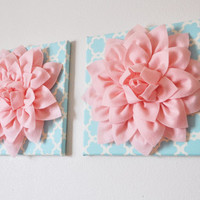 TWO Wall Flowers Light Pink Dahlia on Blue and White by bedbuggs