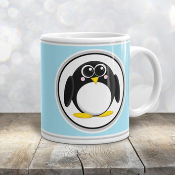 Adorable Penguin Mug - Light Blue Background - Cute Penguin Cartoon Illustration - 11oz or 15oz