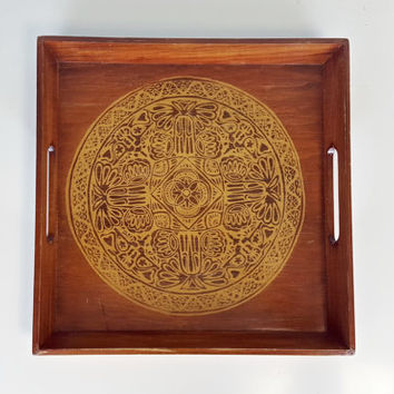 Vintage Wood Decorative Tray Mandala Medallion Boho Chic Handles, Square Decorative Tray with Handles, Bohemian Home Decor Medallion Pattern