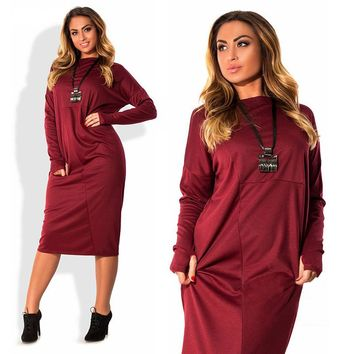 plus size 4xl 5xl 6xl women clothing 2017 long sleeve autumn winter fleece dress big size loose dress For Fat party robe femme