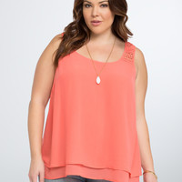 Layered Chiffon Crochet Inset Top