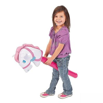 3 Pieces/set Pink Inflatable Horsehead Stick For Kids Riding Toy Game Tool Outdoor Play Fun Blow Up Toy Party Supplies Gift