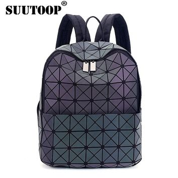 New Bao Bao luminous hologram backpacks female fashion girl daily backpack geometry package holographic bags school bags