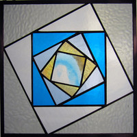 "Twisting Boxes 10"" Handmade Stained Glass Quilt Square"