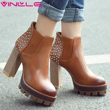 VINLLE 2016 Women British Style PU Boots Rivets Square High Heel Ankle Boots Round Ladies Platform Motorcycle Boots Size 34-42