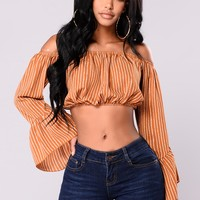 Caitlin Off Shoulder Top - Rust