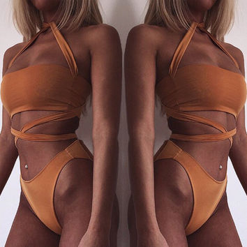 2016 Sexy Women's Summer Swimwear Swimsuit Monokini Push Up Padded Women Sexy Bikini Set Bathing Suit