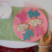 Six LARGE Leaf Cookies with frosting, sugar, sprinkles. for table tops decorations, dolls miniature food.