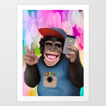 Selfi monkey iPhone 4 4s 5 5c 6 7, pillow case, mugs and tshirt Art Print by Three Second