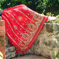 Gypsy Skirt: Bohemian Red Maxi Skirt, Flowy Indian Boho Crinkle Peasant Skirt, Floral Sequin Cover Up