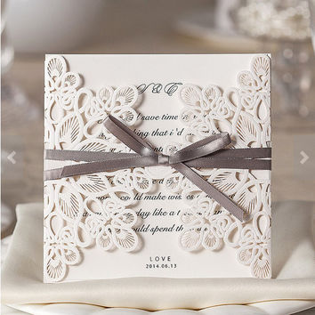 Lace Laser Cut Wedding Invitations Bridal Shower Invite Floral Customized Printable Design with Grey Ribbon - Pack of 50