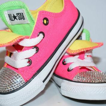 All Star Converse Bling Swarovski Shoes. Baby Girl/Boy Childrens. Sneakers Made with l