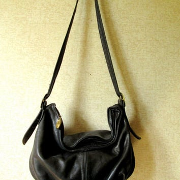 Hobo Bag shoulder bag long strap purse slouchy leather bag boho hipster purse black grunge bag distressed bag vintage 80s Stone Mountain bag