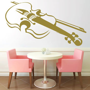 Violin Vinyl Decals Wall Sticker Art Design Living Room Cafe Modern Stylish Bedroom Nice Picture Home Decor Hall Interior ki615