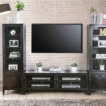 Furniture of america CM5011-TV-72-3PC 3 pc Clonakitty industrial style black finish metal entertainment center wall unit