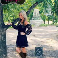DOLLED UP ATTACHED SLEEVE BLACK LACE DRESS