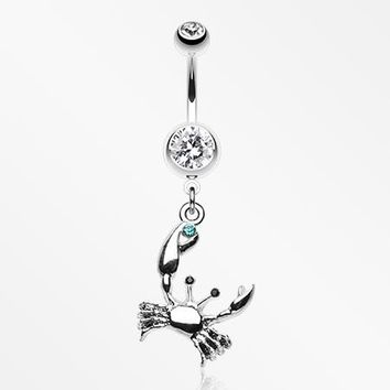 Fiddler Crab Dangle Belly Button Ring
