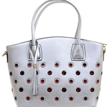 Silver Funky Retro Grommet Handbag Vegan Leather Crossbody Purse