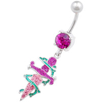 Urban Designs Thorn Dagger Dangle Fuchsia Crystal Belly Button Ring For Girls [Gauge: 14G - 1.6mm / Length: 10mm] 316L Surgical Steel & Crystal