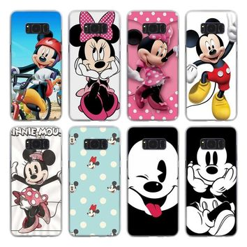 cute Minnie Mickey Mouse Pattern transparent hard Phone Case Coque for Samsung Galaxy S8 S9 Plus Note 9 8 S5 S6 S7 edge