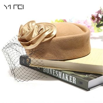 YIFEI Wool Felt Winter Women Hat Elegant Church Hat Wedding Fedora flat Formal hat Brand Quality Classic Solid flower Beret Caps