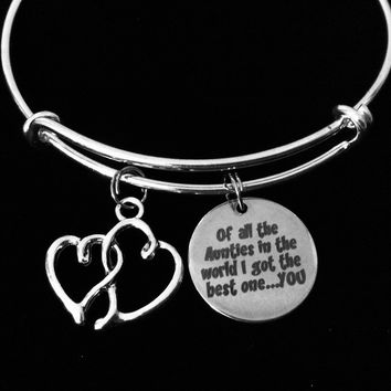 The Best Auntie Gift Adjustable Bracelet Silver Expandable Charm Bracelet Bangle Aunt Trendy One Size Fits All