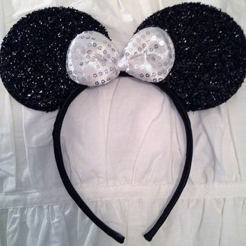 MINNIE MOUSE EARS Headband Black Sparkle Shimmer Silver White Sequin Bow Mickey
