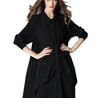 Women's Black Cotton Dress T-Shirt Blouses Casual Loose Fitting Plus Size Long Sleeve