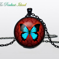 BUTTERFLY PENDANT  Butterfly jewelry Butterfly Necklace Turquoise neon Aqua  for him  Art Gifts for Her Valentines day