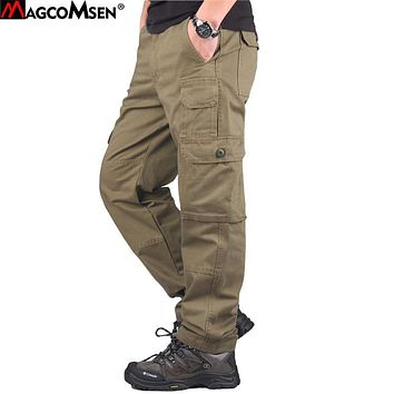 MAGCOMSEN Pants Men Autumn Cotton Loose Multi-Pockets Workout Pants Military Camouflage Tactical Pants Trousers for Man AG-TY-03