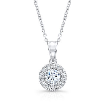 "Ladies Platinum diamond halo pendant 0.40 ctw G-VS2 diamond quality with 16"" Platinum necklace"