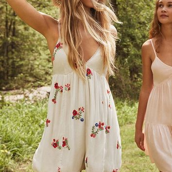 UO Jemma-Belle Embroidered Romper   Urban Outfitters