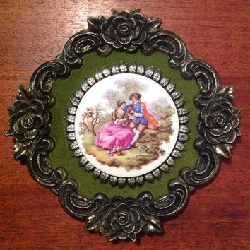 Pair of Victorian porcelain cameo ornate Italian metal frame wall hangings plaques wall art E A  RIBA romantic cottage home decor