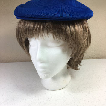 Royal Blue Paperboy Hat 100% Acrylic Ladies Size Small to Medium