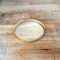 Vanity Mirror Brass Mirror Tray Small Gold Circula Dresser Tray Dresser Top Mirror Small Brass Mirror Tray Brass Wedding Decor Gift for Her