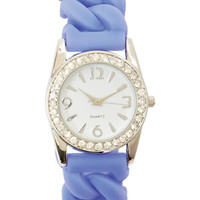 Rhinestone Bezel Rubber Watch