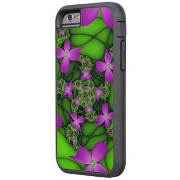 Modern Abstract Neon Pink Green Fractal Flowers Tough Xtreme iPhone 6 Case