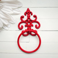 Custom Towel Holder / Towel Ring / Towel Rack / Outdoor Kitchen / Towel Hanger / Bar Towel Holder / Hand Towel Holder / Red Home Decor