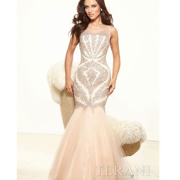 Nude Mesh & Crystal Portrait Trumpet Prom Gown