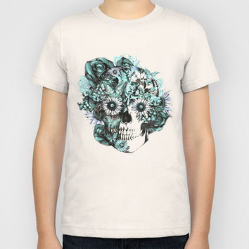 Blue grunge ohm skull Kids T-Shirt by Kristy Patterson Design