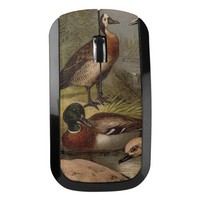 Colorful vintage painting of ducks wireless mouse