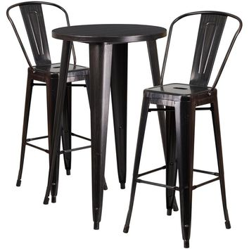24'' Round Black-Antique Gold Metal Indoor-Outdoor Bar Table Set with 2 Cafe Stools [CH-51080BH-2-30CAFE-BQ-GG]