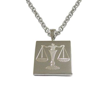 Silver Toned Etched Scale of Justice Law Pendant Necklace