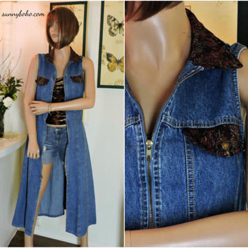 Long denim duster vest / size M / 90s denim dress / sleeveless denim maxi dress / boho jean duster / SunnyBohoVintage